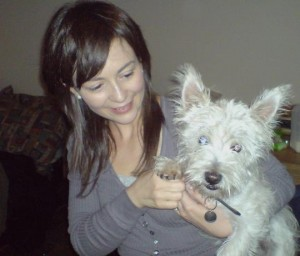 Sinead with her adopted Westie called Freddie